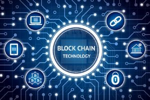 Blockchain , Distributed ledger technology , bitcoin concept. Electric circuit graphic and infographic of Block chain , network connect , security , binary coded icons.