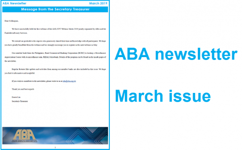 ABA newsletter's March issue is ready