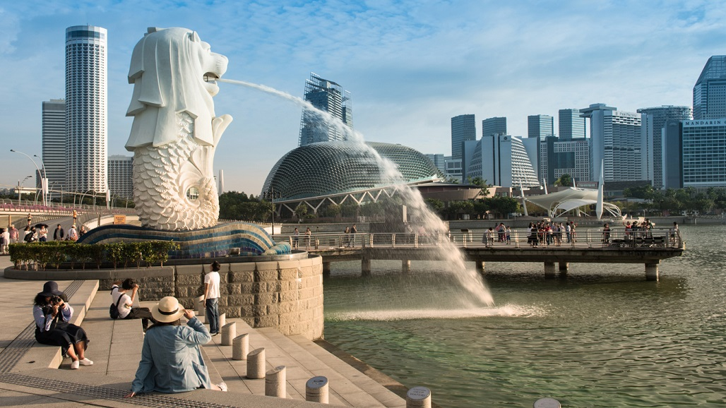 Morning at Merlion and Marina bay,Famous travel destinations in Singapore